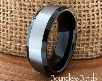 Two Tone Wedding Tungsten Band Black Brushed Beveled Edges Ring Custom Laser Engraved Tungsten Anniversary Ring Couple Ring Mens Ring 8mm