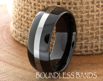 Two Tone Black Mens Tungsten Ring Dome Shaped Wedding Ring 8mm High Polished Unisex His Hers Customized Laser Engraved New Design Modern 8mm