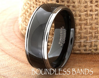 Black Tungsten Wedding Ring Dome 8mm Stepped Edges High Polished His Hers Free Custom Laser Engraving Two Tone Black White Anniversary Ring