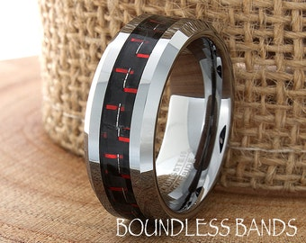 Red Carbon Fiber Inlay Tungsten Wedding Ring Mens Wedding Band Custom Laser Engraving Personalized Ring New Design Mens Women Modern Rings