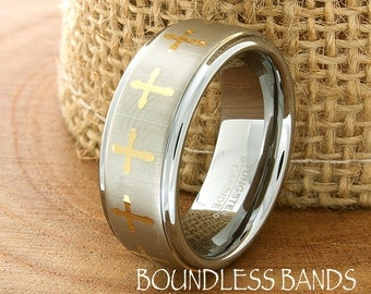 Tungsten Cross Ring Mens Wedding Band Brushed High Polished Gold Plated Cross Ring 8mm Christian Man Women His Hers Anniversary Promise Ring