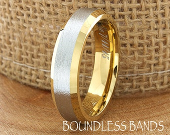Cobalt Ring Yellow Gold Wedding Band Cobalt Chrome 6mm 18K Cobalt Brushed Ring Man Wedding Band Womens Custom Laser Engraving Anniversary