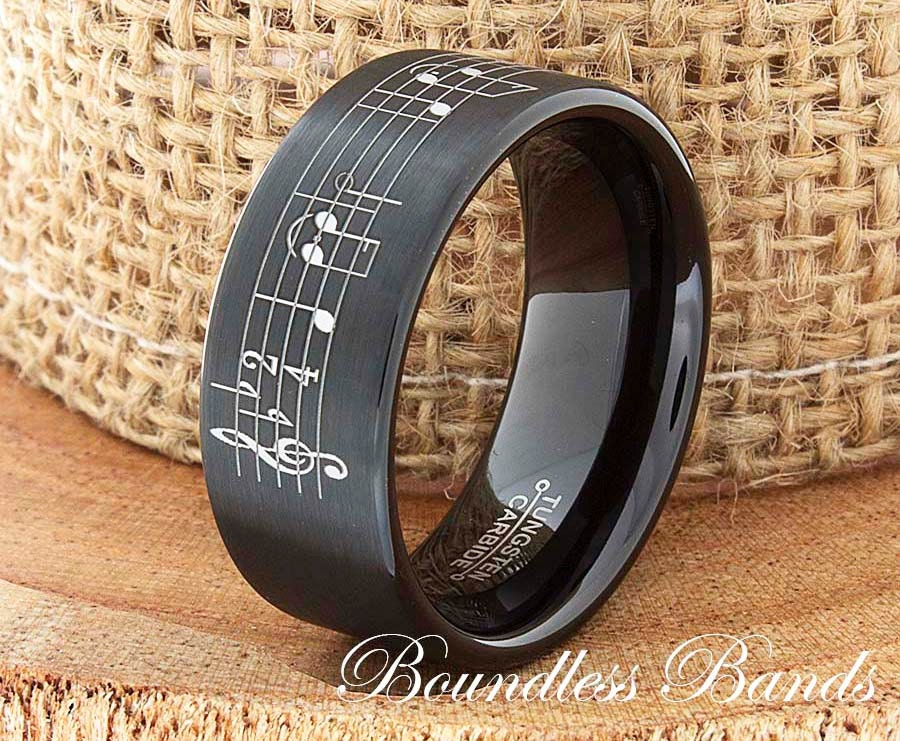 Music Note Tungsten Wedding Band Music Note Ring By