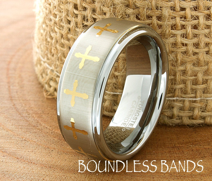 Tungsten Cross Ring Mens Wedding Band Brushed High Polished