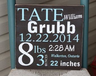 Custom birth announcement wood sign baby name sign birth announcement wall art sign custom hand painted wood newborn birth stat sign negle Image collections