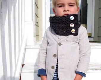 Boys Column scarf w button detail