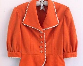 1970's does 1940's Orange Vintage Blouse Size S