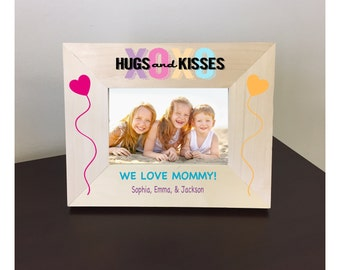 Personalized Hugs and Kisses Mother's Day Wood Picture Frame
