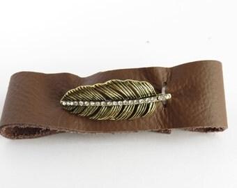 Gold Leaf, Brown Leather Cuff