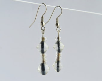 Glass Diamond Shaped Dangle Earrings