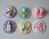 Set of 12 Baby Shower Fondant Cupcake Toppers