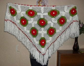 Hand knit crochet shawl triangle