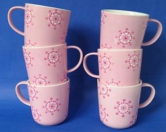 Lovely handdecorated pink mug