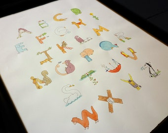 animal alphabet poster—original artwork
