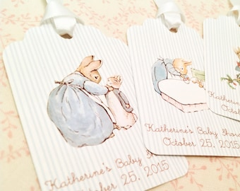 Peter Rabbit Thank You Baby Shower Tags-Baby Shower Favor Gift Tags-Set of 12