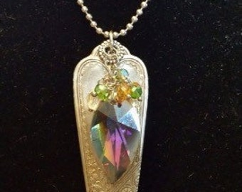 Handcrafted Vintage Spoon Handle Pendant with Large Multi-Faceted Stone