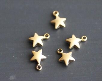 P1-811-L-MG] Star / 6mm / Matt Gold plated / Pendant / 4 pieces