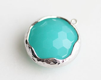 A2-182-R-MT] Mint Green / 19mm / Rhodium plated / Round Glass Pendant /  1 piece(s)