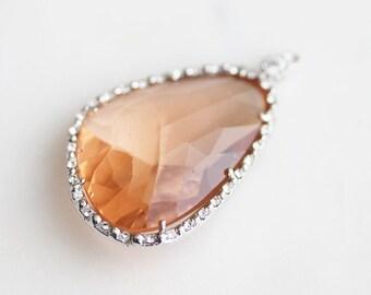 A2-188-R-PE] LEFT Peach / 24 x 40mm / Rhinestone / Rhodium plated / Glass Pendant / 1 piece(s)