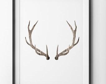 Deer Antler WoodGrain Wall Art, Deer Print Minimalist Home Decor Wall Antlers, Wood Grain Geometric Deer Wall Art, Digital Print