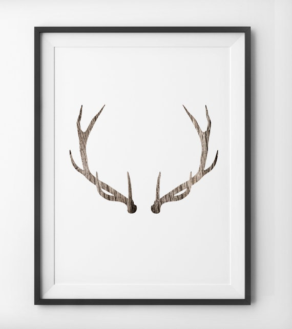 Deer antler woodgrain wall art deer print minimalist home for Minimalist art decor