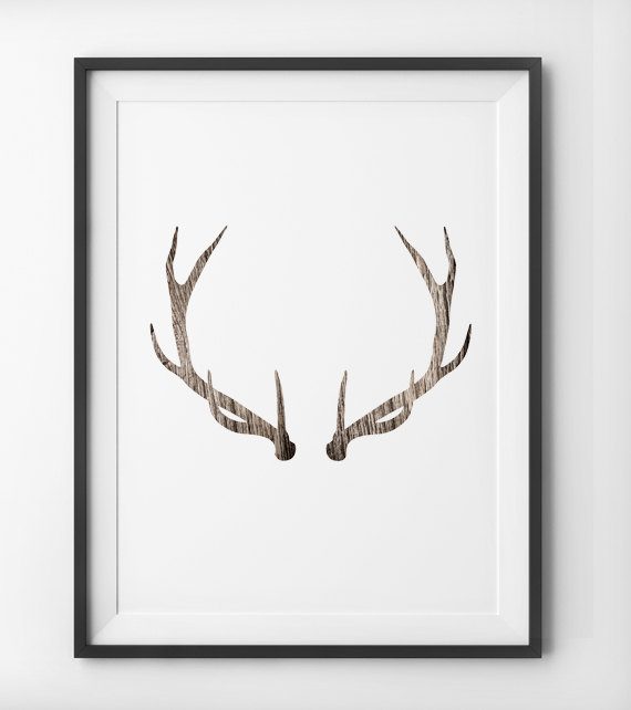 Deer antler woodgrain wall art deer print minimalist home for Antler wall decor