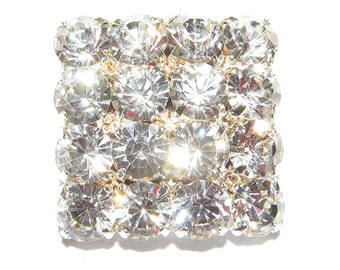 Square Crystal Clear Diamante Buttons 15mm For ,Wedding, Bridal, Costume,Craft