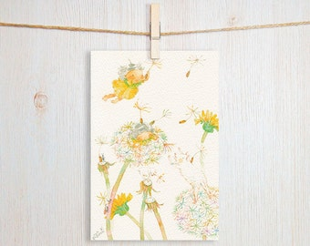 Dandelion Seeds Art Postcard