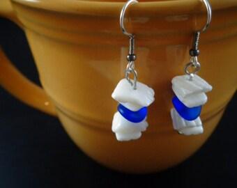 White Puka Shell Earrings with an Aqua-color Bead