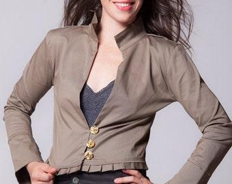 khaki jacket, bolero, ruffles jacket, cotton jacket, cardigan,  blazer.