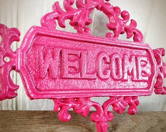 BOLD girly hot pink large floral ornate welcome sign // vintage inspired spring garden decor // feminine shabby cottage chic