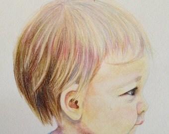 Children's Portrait, Watercolor Portrait, profile portraits, baby portrait