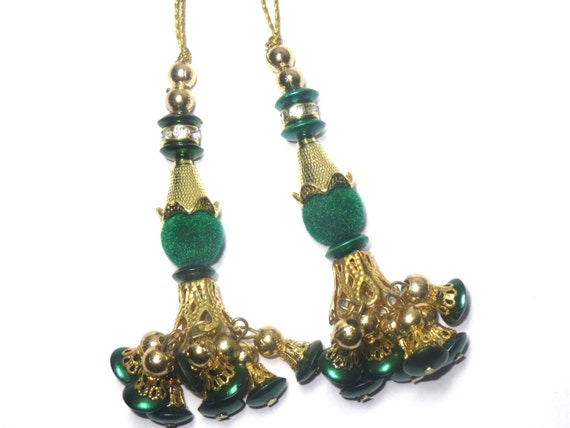 Indian Beaded Green Decorative Traditional Ethnic Handcrafted