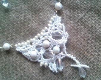 White Bride Necklace, Freeform peyote necklace, Beaded necklace, Handmade, From Latvia, Choker Necklace, Strand necklace