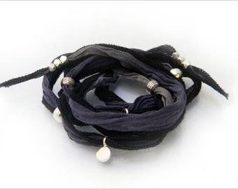 Wrap me silk bracelet with fine silver beads and black and grey silk