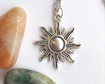 Silver Sun chain necklace