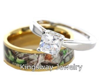2 pc Gold Camo Silver Engagement Set