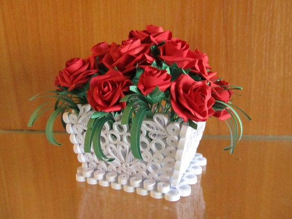 Basket With Roses, Handmade