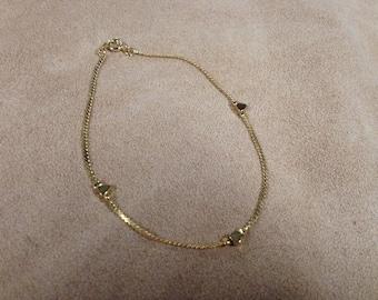 Vintage Goldtone Ankle Bracelet, Length 9''