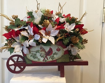 Holiday Wooden Wagon Floral Arrangement