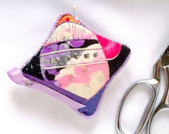 Pincushion, Bright Vintage Fabric, Eco Friendly, Renew, Reuse, Recycle