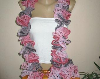 Ruffle Scarf ,Multicolor Hand Knit Scarf, GIft Idea
