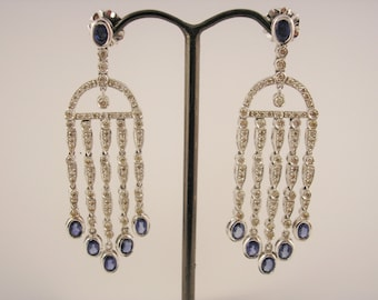 18ct White Gold Diamond Chandelier Earrings