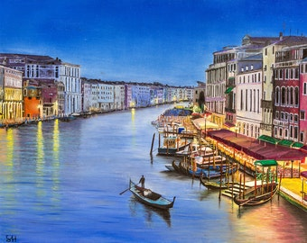 Italy venice View original oil painting BY SHMUEL HAGAG