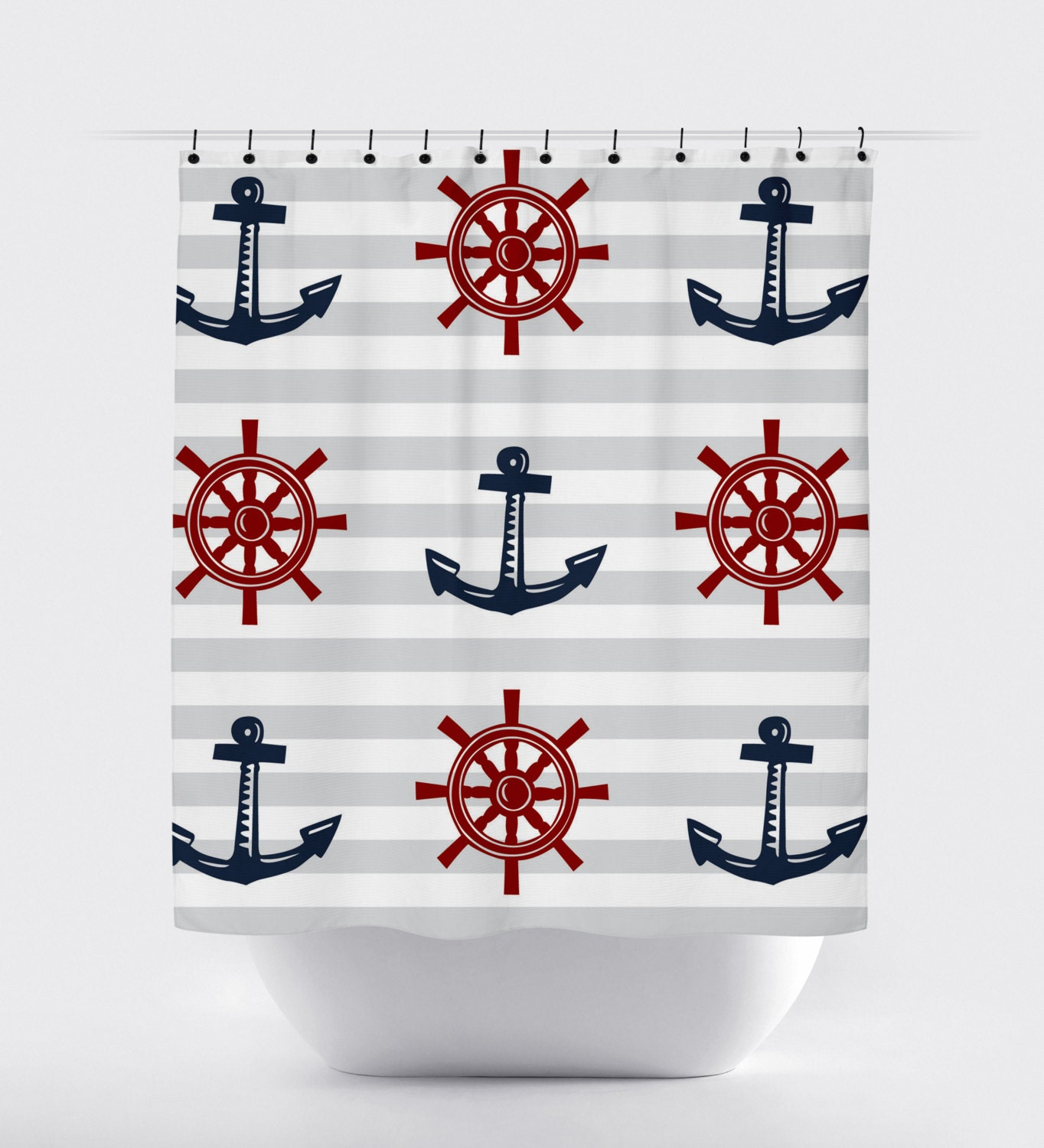 Red Blue Gray Nautical Shower Curtain Modern Shower Curtain