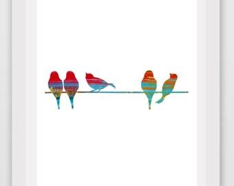 Printable Art, Bird Print, Colorful Bird Art, Modern Wall Art, Abstract bird Print, Instant Download, Nursery Art