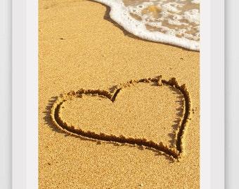Beach Art, Heart in Sand Photo, Printable Art, Beach Decor, Instant Download, Modern Wall Art, Beach Photography, Coastal Art