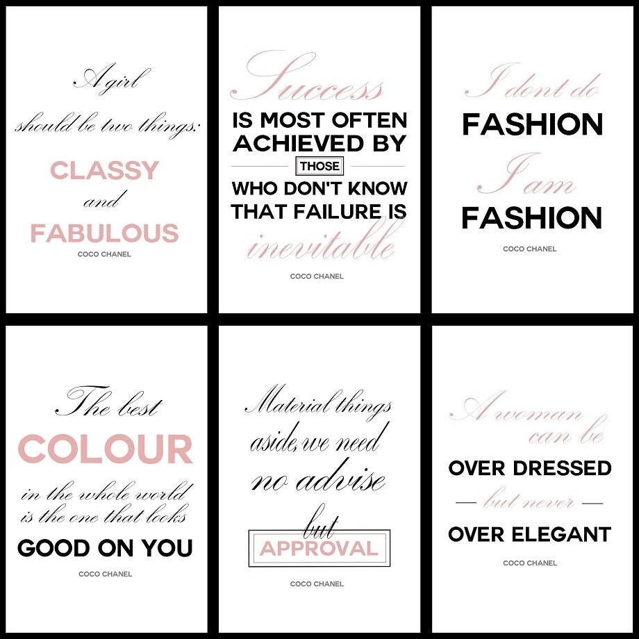 JEU numérique de 12 citations rayé Coco Chanel pièce