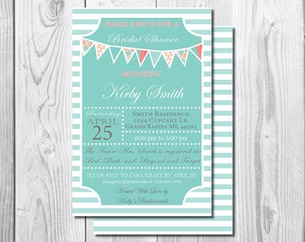 Coral and Teal Bridal Shower Invite