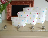 Cream Multicoloured Spotted Make Up Bag. 100% Cotton. Toiletries Bag. Wash Bag. 3 Sizes Available.